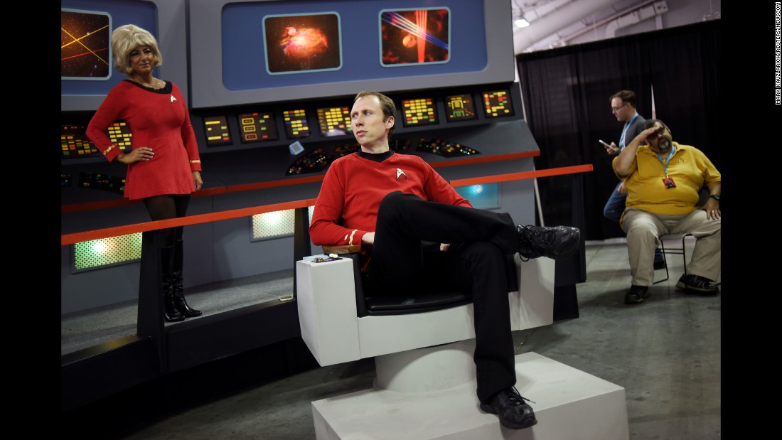 "Fan Alex Reventlow poses for a picture during a ""Star Trek"" convention in New York on Friday, September 2."