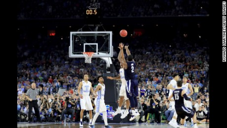 Villanova's Kris Jenkins launches the winning 3-pointer to win NCAA Tournament on April 4.