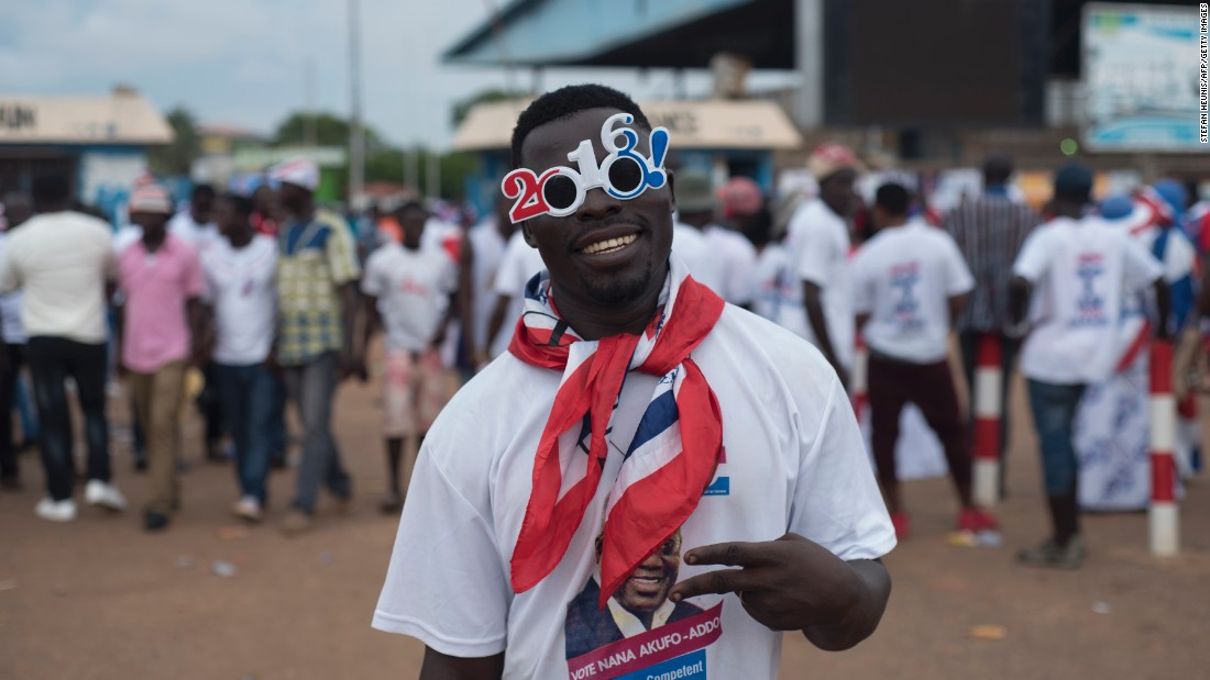 Ghanaians claim their vote choices would be influenced by a variety of policy and campaign issues, including bad roads, government corruption and  national embarrassments. This is according to CDD-Ghana.<br /><br />Pictured: A supporter of Ghana's largest opposition party, New Patriotic Party (NPP), at the party manifesto launch in Accra on October 9, 2016.