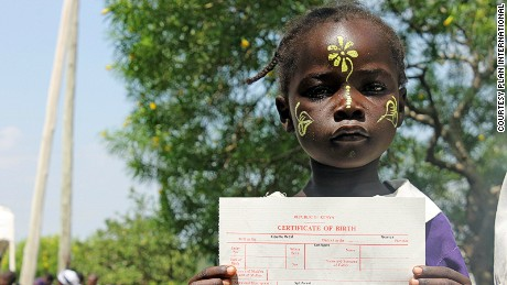 Images supplied by Plan to go with story about birth certificates in Africa