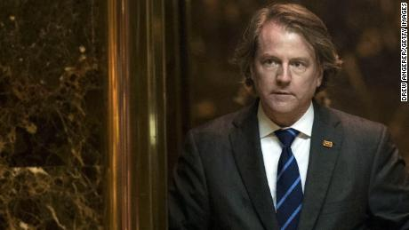 Don McGahn, general counsel for the Trump transition team, gets into an elevator in the lobby at Trump Tower, November 15, in New York City. President-elect Donald Trump is in the process of choosing his presidential cabinet as he transitions from a candidate to the president-elect.