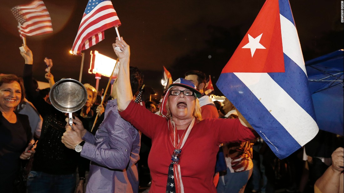 Cuban-Americans take to the streets of Miami's Little Havana neighborhood early Saturday, November 26, upon hearing the news of longtime Cuban leader Fidel Castro's death. Castro died at age 90 after ruling the island nation with an iron hand for nearly half a century.