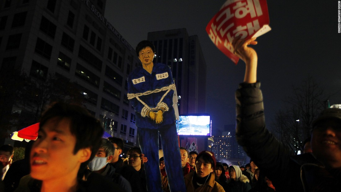 "Approval ratings for South Korean President Park Geun-hye have dipped into single digits since the accusation that she allowed her confidante, Choi Soon-sil, who does not hold an official government post, view confidential documents and presidential speeches. (Read the full story <a href=""http://edition.cnn.com/2016/11/26/asia/south-korea-mass-protests/index.html"" target=""_blank"">here</a>)"
