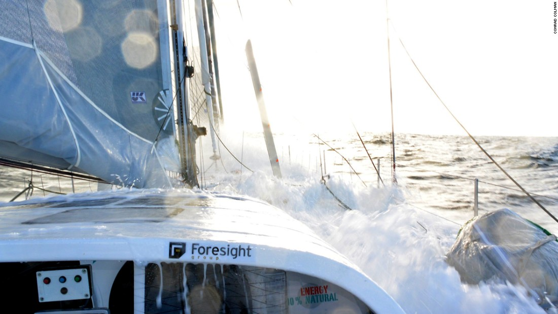 Water rushes onto the deck as Colman -- who has already completed two round-the-world races in his sailing career -- steers his yacht into choppy waters.