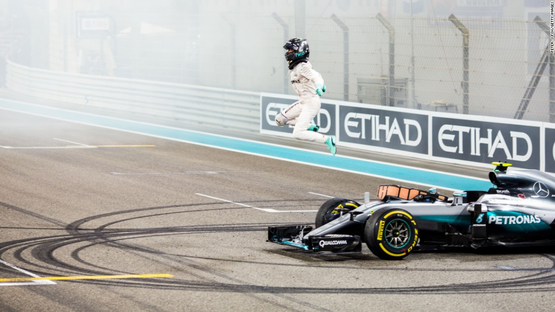 "Nico Rosberg celebrates after winning his first Formula One title on Sunday, November 27. Rosberg <a href=""http://www.cnn.com/2016/11/27/motorsport/rosberg-hamilton-abu-dhabi-world-champion-f1/index.html"" target=""_blank"">finished second in the Abu Dhabi Grand Prix,</a> earning enough points to clinch the title over Mercedes teammate Lewis Hamilton, who won last year's championship."