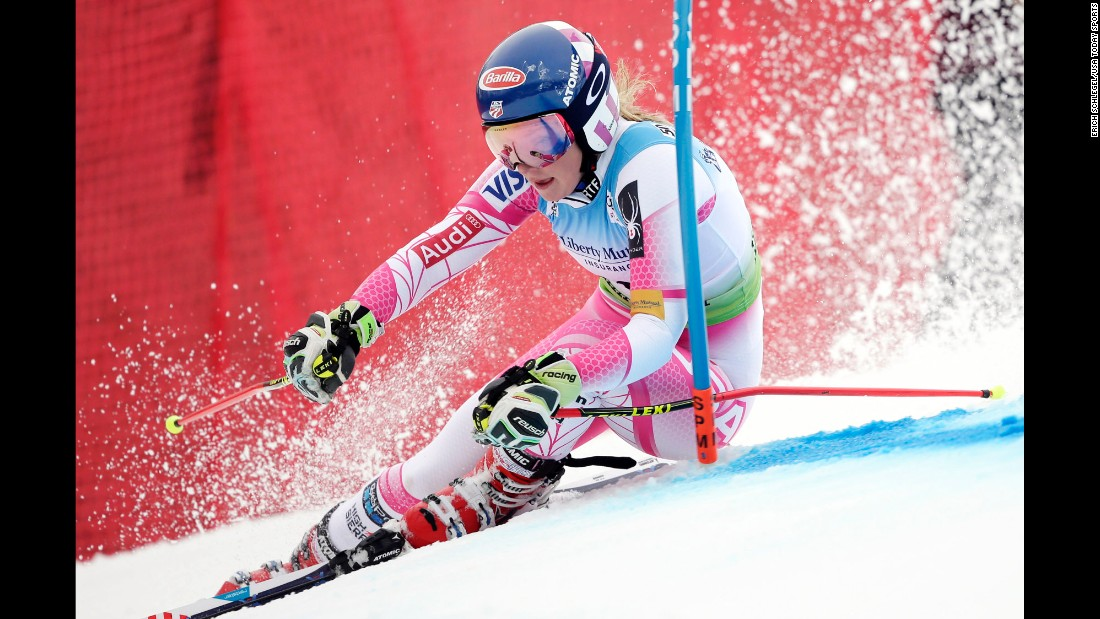American skier Mikaela Shiffrin competes in the giant slalom during a World Cup event in Killington, Vermont, on Saturday, November 26. She finished fifth in the giant slalom and first in the slalom.