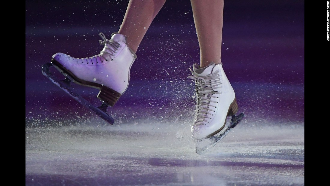 Russian figure skater Anna Pogorilaya performs in a gala exhibition in Sapporo, Japan, one day after winning the Grand Prix event there on Saturday, November 26.