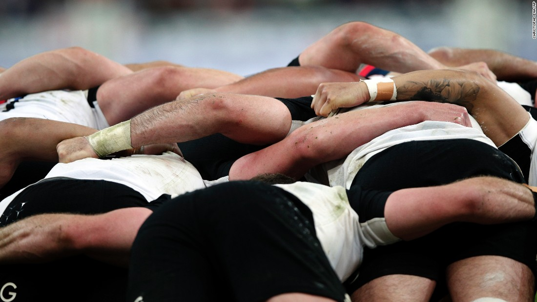 New Zealand rugby players are seen in a scrum during a match in France on Saturday, November 26.