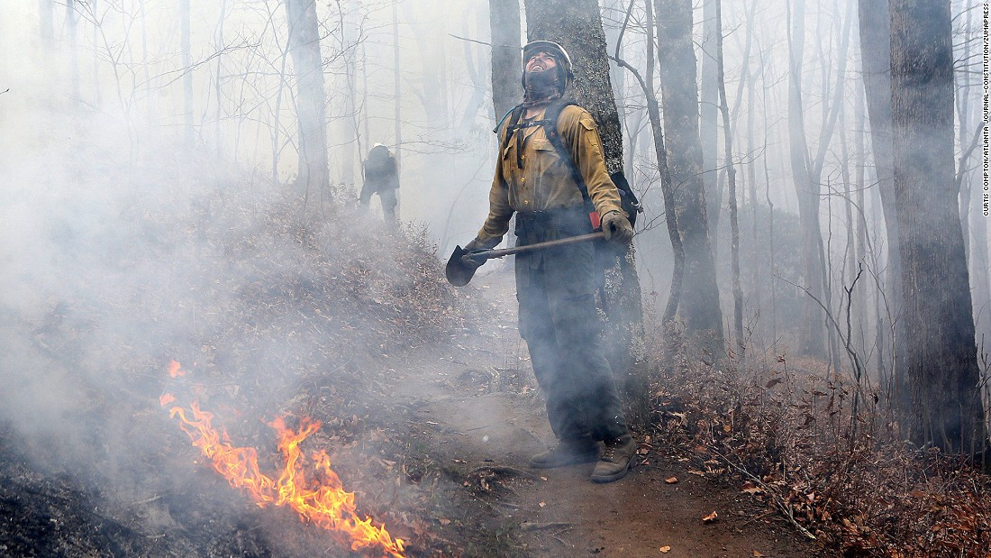 Firefighter Layne Whitney checks the treetops while working to hold the northern head of the Rock Mountain Fire, north of Tate City, Georgia, on Tuesday, November 22.