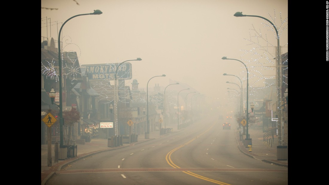 Thick smoke looms in Gatlinburg on November 28.