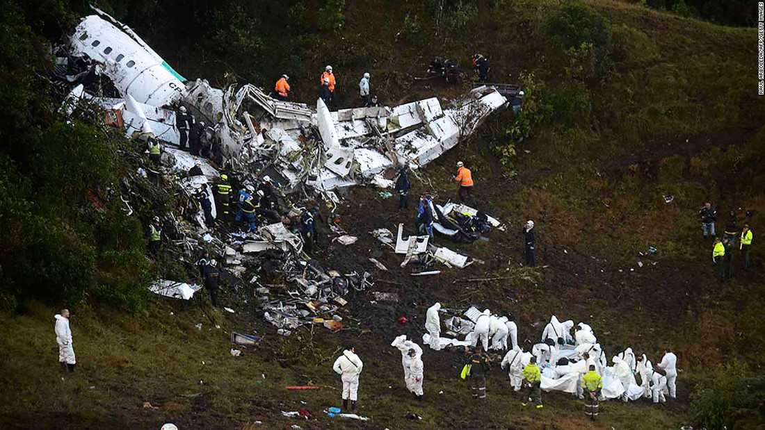 "A charter airplane with 77 people on board, including players from the Brazilian soccer team Chapecoense, <a href=""http://www.cnn.com/2016/11/29/americas/colombia-plane-accident/index.html"" target=""_blank"">crashed near Rionegro, Colombia,</a> outside Medellin, on Monday, November 28. At least 71 people were killed, officials said. Six survived."