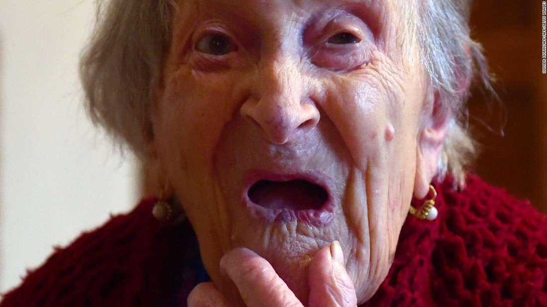 "Emma Morano made it to 117. The Italian credited her long life with ending her marriage to an abusive spouse and eating a regular diet of raw eggs and cookies. She <a href=""http://www.cnn.com/2017/04/16/europe/emma-morano-oldest-person-dies-trnd/"">loved cookies so much</a>, she hid them under her pillow so no one else would eat them."