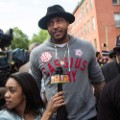 Carmelo Anthony at protest march