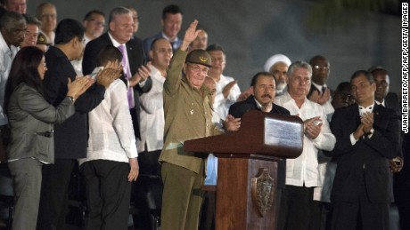 Ecuadorean President Rafael Correa (R), Nigaraguan President Daniel Ortega (3rd-R) and Cuban President Raul Castro (L) during a massive rally at Revolution Square in Havana in honor of late leader Fidel Castro. Castro -- who ruled from 1959 until an illness forced him to hand power to his brother Raul in 2006 -- died Friday at age 90. The cause of death has not been announced. / AFP / JUAN BARRETO        (Photo credit should read JUAN BARRETO/AFP/Getty Images)