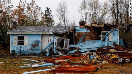 A suspected tornado ripped through the town of Rosalie, Alabama, on  Wednesday. At least three people died in the state.