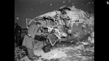 Wreckage of a British European Airways plane after it crashed in 1958 near Munich, Germany, while carrying the Manchester United championship soccer team.