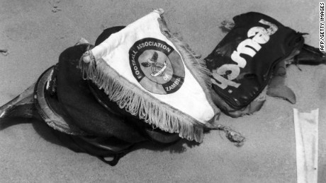 This 1993 photo shows the emblem of the national Zambian football team and some belongings of players found by divers at sea after a plane carrying the team crashed shortly after takeoff from Libreville. All 30 people aboard were killed.