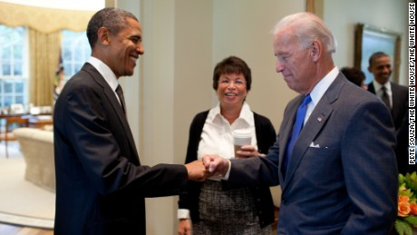 President Barack Obama fist-bumps Vice President Joe Biden, as Senior Advisor Valerie Jarrett looks on, before a meeting in the Oval Office, Sept. 16, 2010. (Official White House Photo by Pete Souza)
