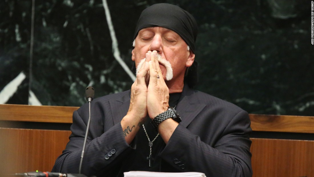 "Former pro wrestler Hulk Hogan takes a moment in court as attorneys talk to a judge in St. Petersburg, Florida, on Tuesday, March 8. Hogan <a href=""http://money.cnn.com/2016/03/07/media/hulk-hogan-court-sex-tape/index.html"" target=""_blank"">sued Gawker for $100 million,</a> claiming the website invaded his privacy by publishing part of a sex tape in 2012. The jury awarded in his favor in late March, and the media company later filed for bankruptcy. Hogan <a href=""http://money.cnn.com/2016/11/02/media/gawker-hulk-hogan/"" target=""_blank"">settled with the company</a> in November."