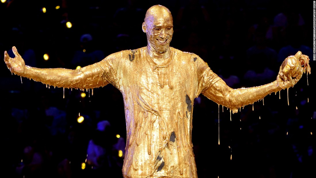 Former basketball star Kobe Bryant is slimed on stage as he accepts a Nickelodeon Kids' Choice Sports Award on Thursday, July 14.