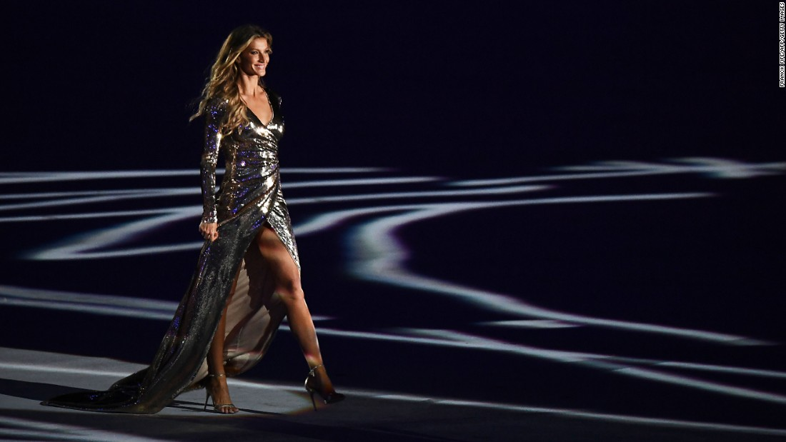 "Brazilian model Gisele Bundchen takes part in <a href=""http://www.cnn.com/2016/08/05/sport/gallery/olympics-opening-ceremony/index.html"" target=""_blank"">the opening ceremony of the Rio Olympics</a> on Friday, August 5."