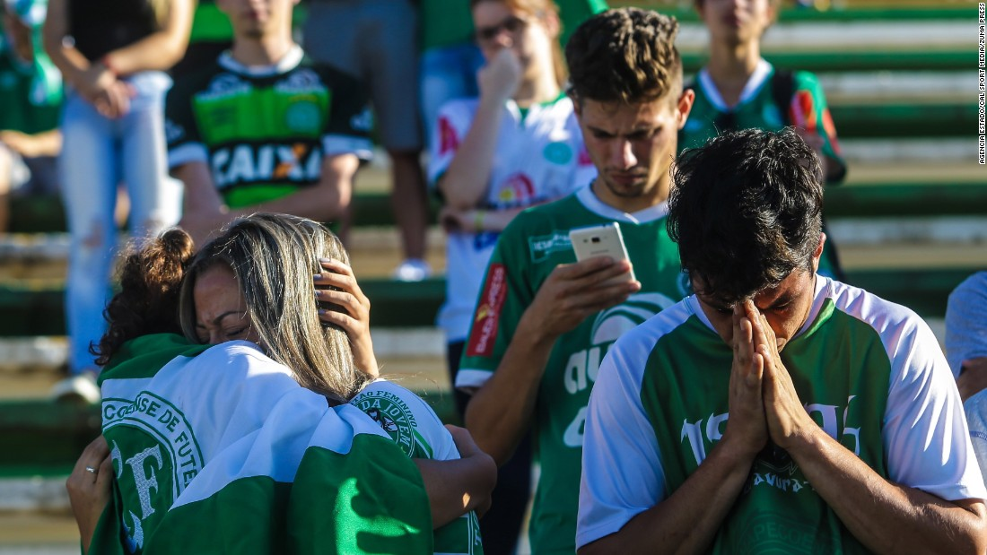 Chapecoense supporters take part in a vigil at the team's stadium in Chapeco on Tuesday, November 29.