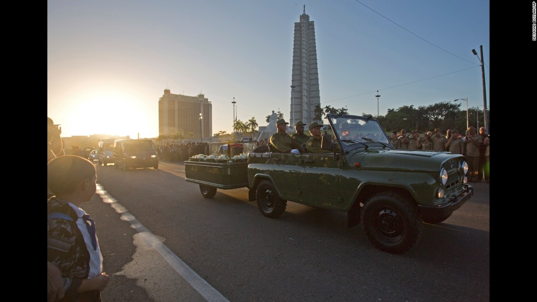 Castro's ashes are driven through Revolution Square in Havana on November 30.