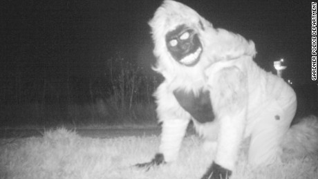 A prankster dressed as a gorilla captured on the Gardner Police Department's trail cameras.