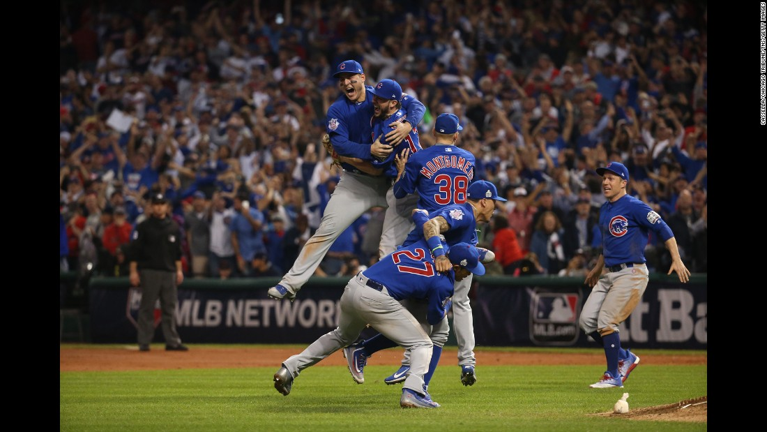 "<strong>November 3:</strong> The Chicago Cubs celebrate <a href=""http://www.cnn.com/2016/11/02/sport/world-series-game-7-chicago-cubs-cleveland-indians/"" target=""_blank"">after winning Game 7 of the World Series.</a> The Cubs defeated the Cleveland Indians in 10 innings to end the longest championship drought in major US sports. The Cubs hadn't won the World Series since 1908."