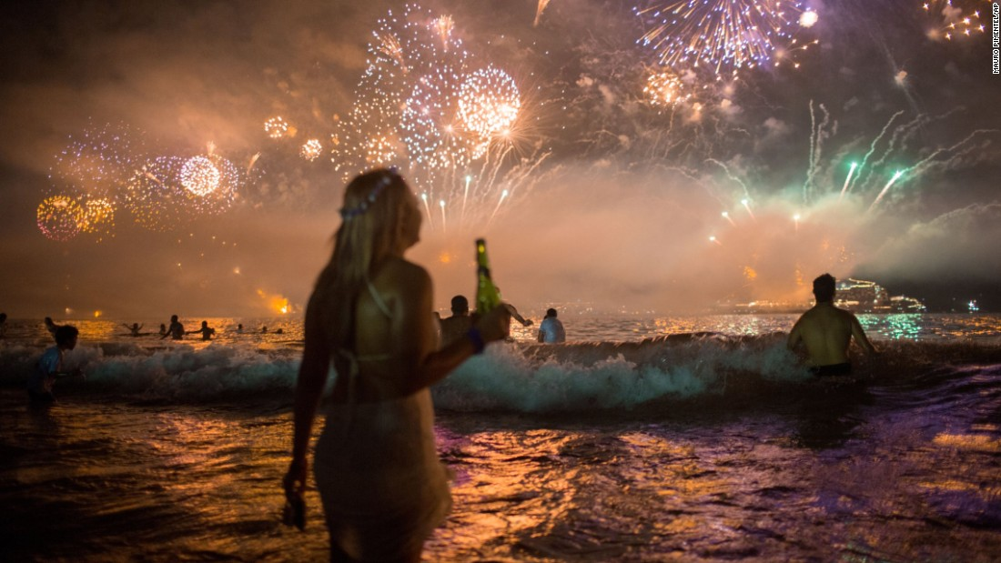<strong>January 1:</strong> Fireworks light the sky over Copacabana beach during New Year's celebrations in Rio de Janeiro.