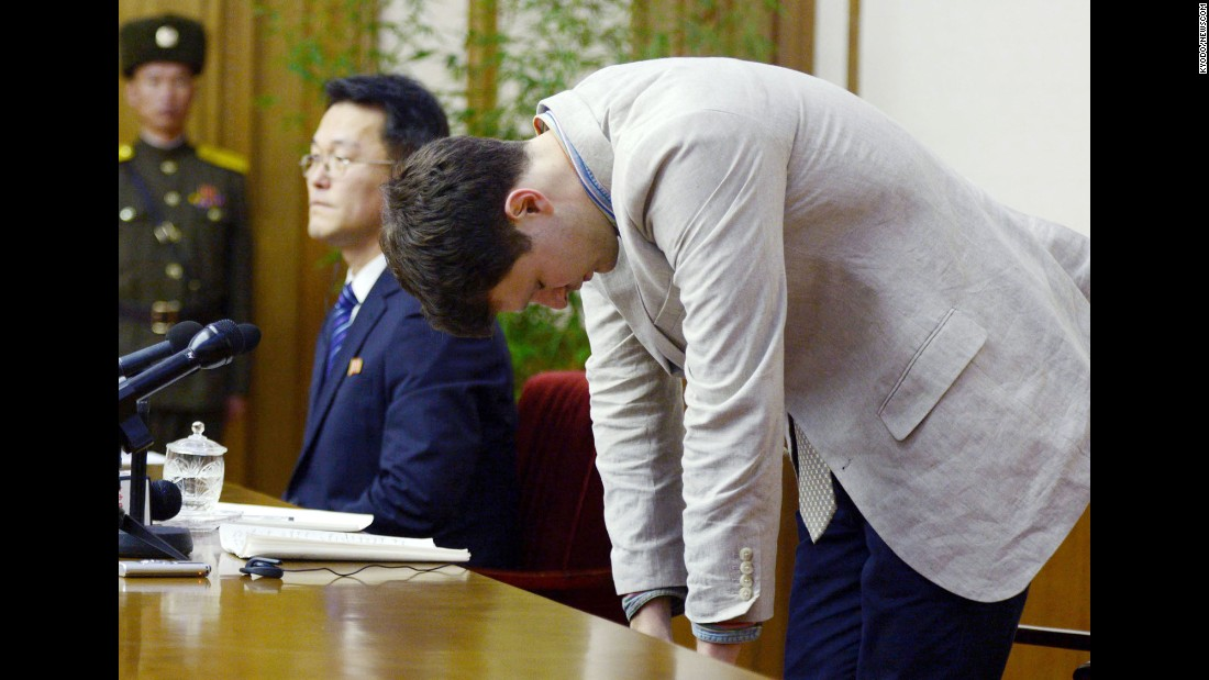 "<strong>February 29: </strong>Otto Frederick Warmbier, an American college student detained in North Korea, bows during <a href=""http://www.cnn.com/2016/02/28/asia/north-korea-otto-warmbier/"" target=""_blank"">a news conference</a> in Pyongyang, North Korea. Warmbier was accused of trying to steal a political banner that was hanging from the walls of his Pyongyang hotel. In a video supplied to CNN, Warmbier was seen sobbing and pleading for forgiveness. Warmbier's parents asked the North Korean government to accept his apology and ""consider his youth and make an important humanitarian gesture by allowing him to return to his loved ones."" But in March, <a href=""http://www.cnn.com/2016/03/16/asia/north-korea-warmbier-sentenced/"" target=""_blank"">Warmbier was sentenced</a> to 15 years of hard labor."
