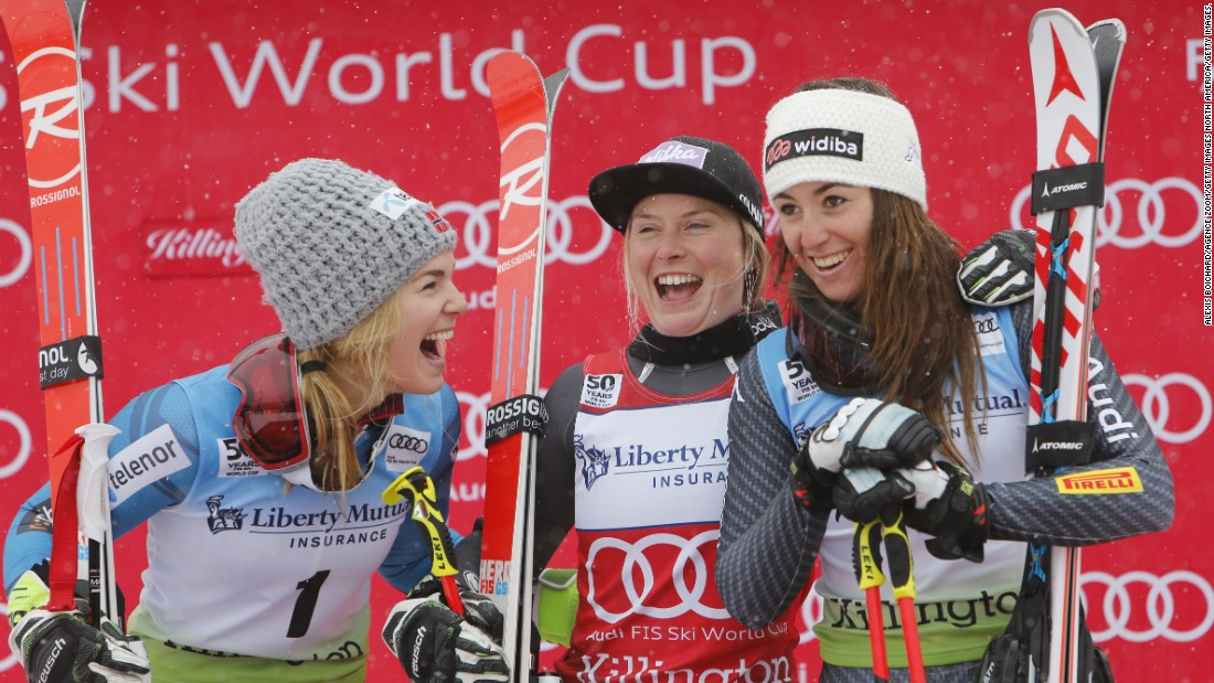 Male and female skiers in the French team train separately, a move implemented within the last few years to enable coaches to spend more concentrated time honing in on strategy, technical abilities, and mental preparation. This includes the likes of Tessa Worley (center), who is seen celebrating her first place finish in the giant slalom event in Killington.