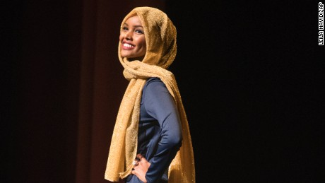 Halima Aden competes in the preliminary round of the Miss Minnesota USA pageant.