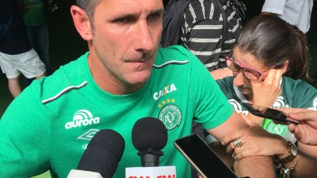 Nivaldo was consoled by his sister as he met reporters at Chapecoense's stadium in the aftermath of the fatal crash.
