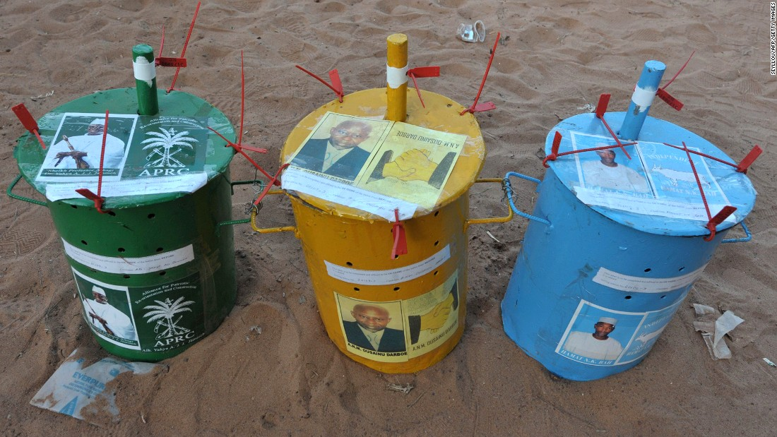 Each party competing in the election has a drum painted with its own identifying colors and their party symbol.