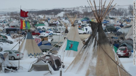 Snow covers Oceti Sakowin Camp near the Standing Rock Sioux Reservation on November 30, 2016 outside Cannon Ball, North Dakota.