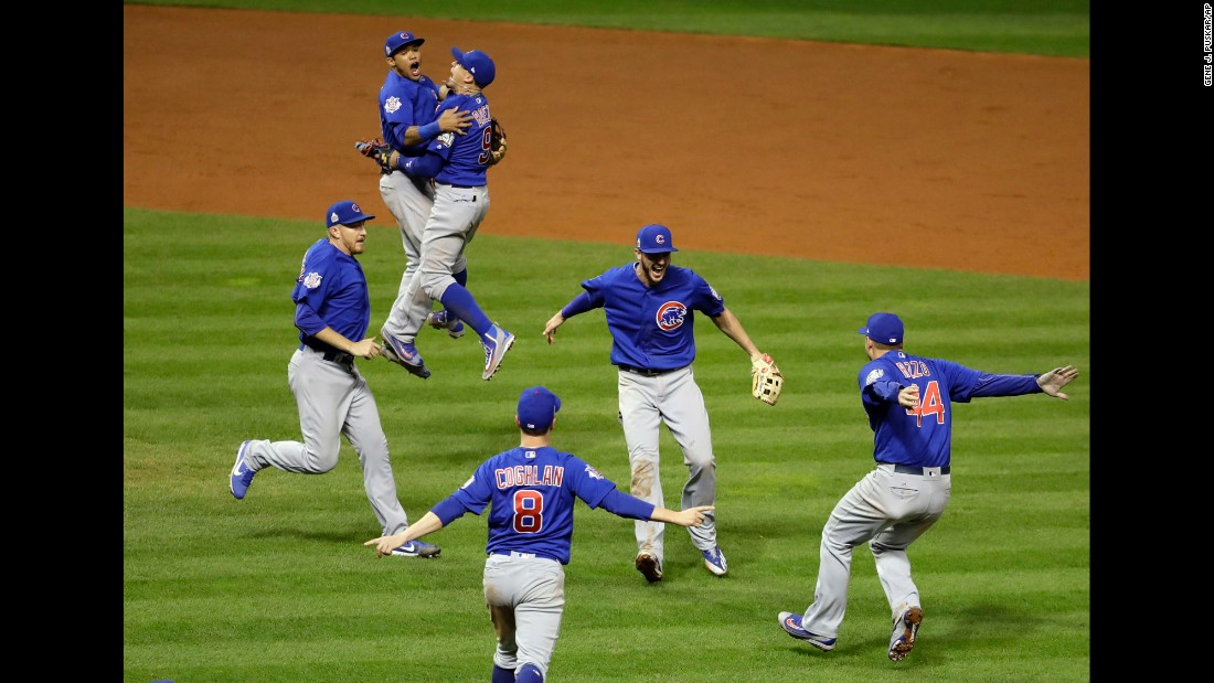 "The Chicago Cubs celebrate after <a href=""http://www.cnn.com/2016/11/02/sport/world-series-game-7-chicago-cubs-cleveland-indians/"" target=""_blank"">winning Game 7 of the World Series</a> on Thursday, November 3. The Cubs defeated the Cleveland Indians in 10 innings to end the longest championship drought in major US sports. The Cubs hadn't won the World Series since 1908."
