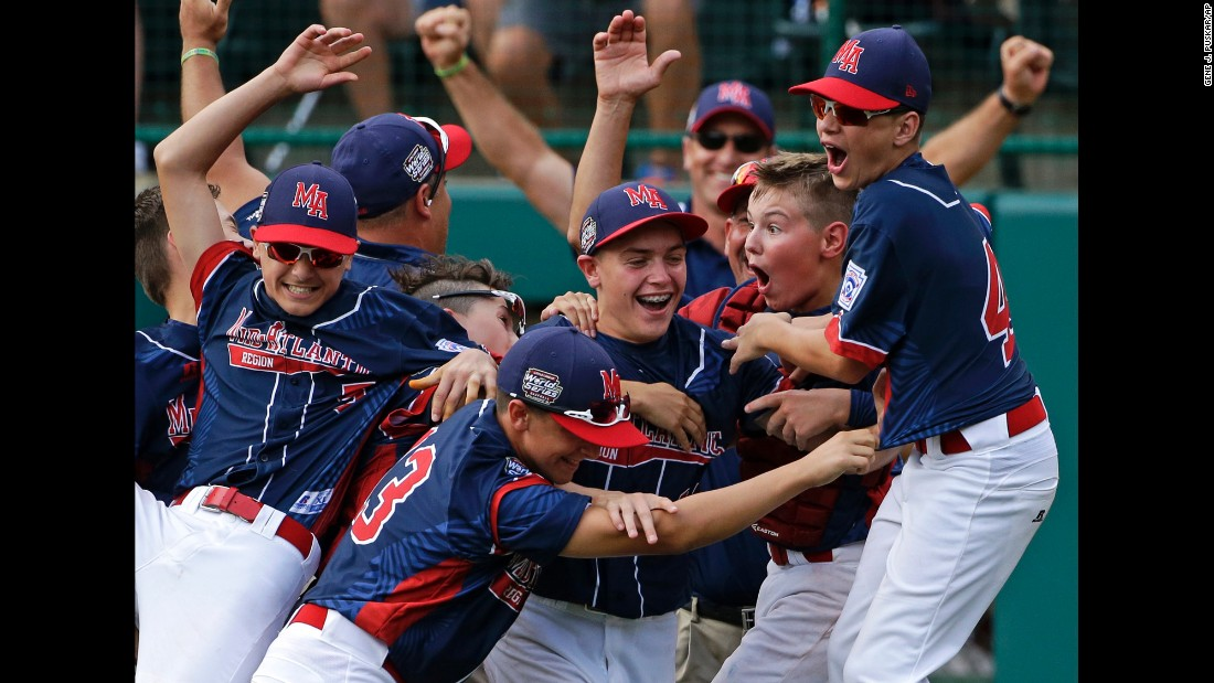 Little League baseball players from Maine-Endwell, New York, celebrate after they beat a team from South Korea to win the Little League World Series on Sunday, August 28. It's the first American team to win the competition since 2011.