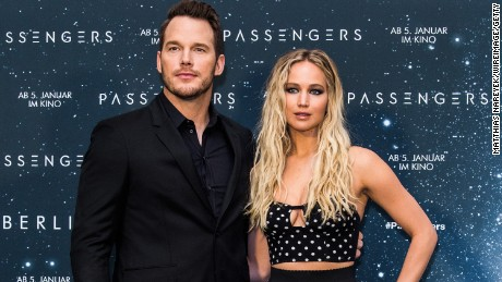 "Chris Pratt and Jennifer Lawrence attend an event for their film ""Passengers"" Friday in Berlin, Germany"