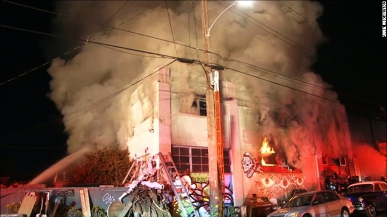 A fire broke out late Friday night, December 2, in a building in Oakland, California. The Oakland police said the building is a live-work residence.