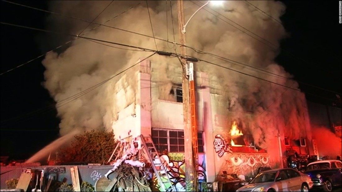A fire breaks out Friday night, December 2, during a party at a two-story warehouse and artists' studio in Oakland, California. Initial reports indicate dozens of people were in the building when the deadly blaze started, the Oakland fire chief says.