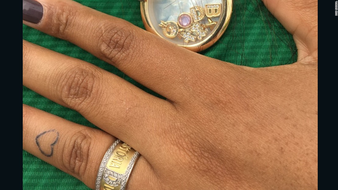 Amanda has the ring and keepsakes as a constant reminder of her fiancee so tragically killed.