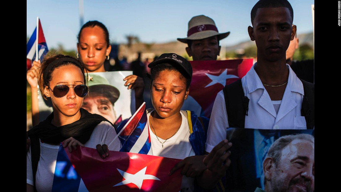 A Cuban government supporter cries during Castro's funeral on December 4.