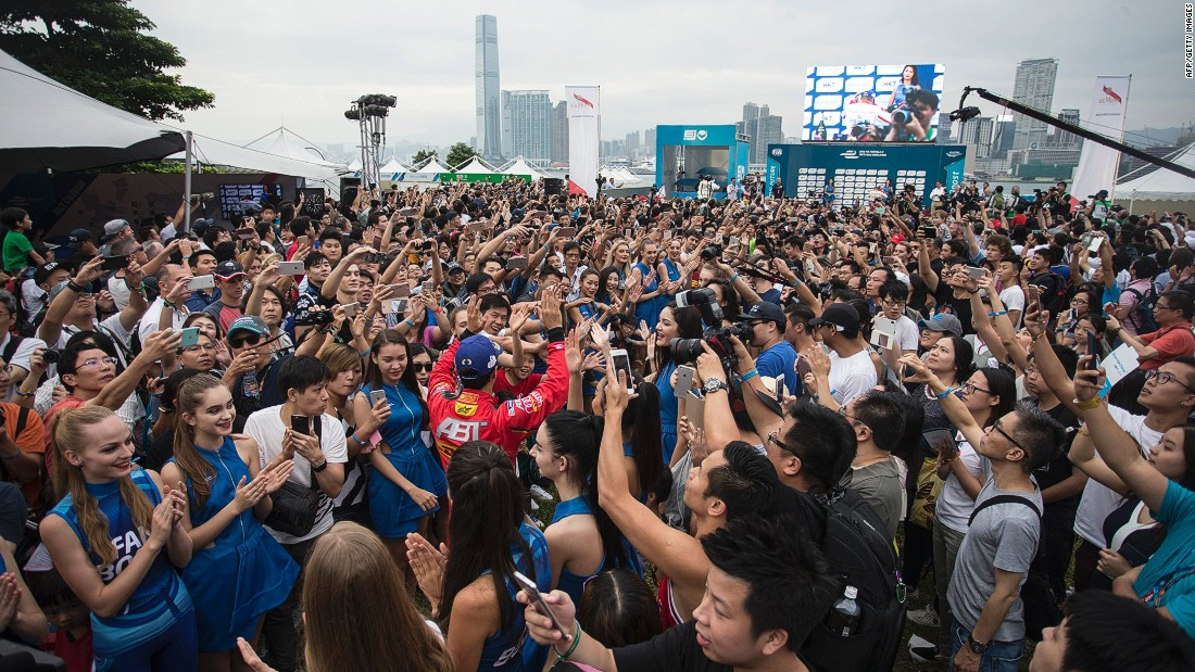 Fans at the Hong Kong race greeted Buemi, Lucas di Grassi (pictured) and Nick Heidfeld at the podium ceremony following the ePrix.
