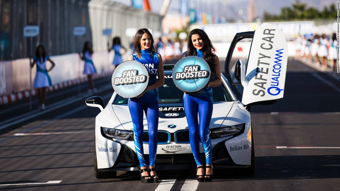Grid girls holding Fan Boost placards at the Marrakech ePrix -- the second race of the 2016/17 world championship.
