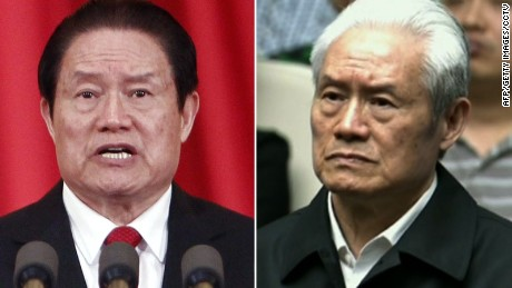 Former Chinese security tsar Zhou Yongkang before and after his shuanggui detention.