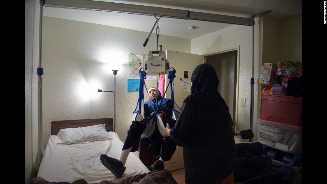 Savitri Baker has cerebral palsy, developmental delays, seizures and spastic quadriplegia. She was born weighing 1½ pounds. Now more than 100 pounds, she has a lift system in her bedroom to help her mother, Beverly Baker-Ajene, move her between her bed and her wheelchair.