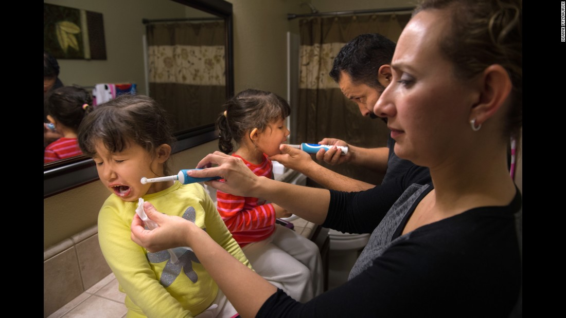 Twins Celeste and Alexia Madrigal were each born without one kidney, and each had open-heart surgery. They have 22q deletion syndrome, which, among many things, affects their teeth. Only 4 years old, Celeste has already had a full dental restoration. Parents Americo and Criss must brush the girls' teeth after every meal.