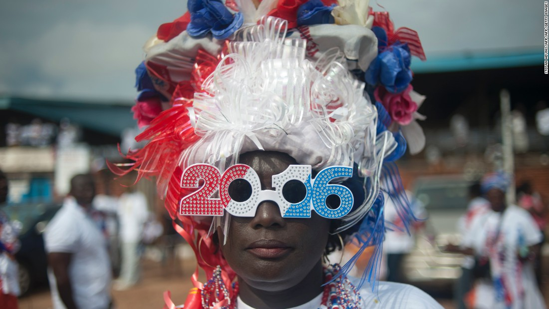 A supporter of Ghana's largest opposition party New Patriotic Party (NPP) is seen at the party manifesto launch in Accra on October 9, 2016