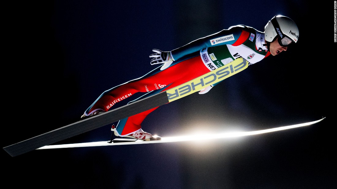 Simon Ammann of Switzerland competes in the FIS Ski Jumping Team World Cup in Klingenthal, Germany, on Saturday, December 3. Team Switzerland placed eighth.